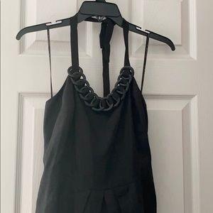 Black Linen Halter Dress
